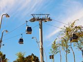 teleferics (overhead cable cars) over Barcelona Spain. Cable way at Monjuic hill