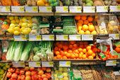 stock photo of stall  - Fruits and vegetables  for sale in farmers market - JPG