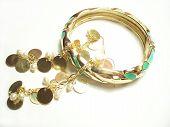 Gold Bangle Bracelet And Earrings