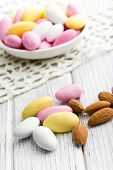 sugared almonds on kitchen table