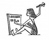 Cave Woman Writing Memo - Retro Clip Art Illustration