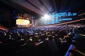 MOSCOW - OCT 14: Spectators watch on scene at anniversary concert of Edita Piecha in Kremlin Palace,