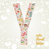 The letter Y. Bright floral element of colorful alphabet made ??from birds, flowers, petals, hearts