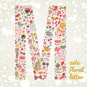 The letter M. Bright floral element of colorful alphabet made ??from birds, flowers, petals, hearts