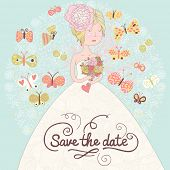 Cute romantic wedding invitation card with beautiful bride and butterflies. Vector save the date background. Young blonde woman with wedding flowers.