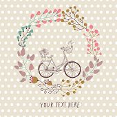 Cute vintage background with bicycle and place for your text. Dachshund and plants in bike basket. C