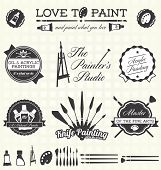 Vector Set: Pintor Retro etiquetas e iconos