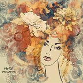 art colorful sketching beautiful girl face with red floral curly hair, on sepia background