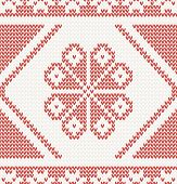 seamless knitted pattern with red flower vector illustration