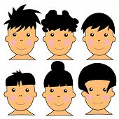 6 Cute Caucasian Kids Vector Illustration