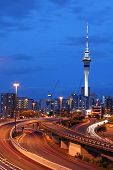 Auckland City, New Zealand At Dusk