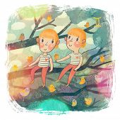 Zodiac sign - Gemini. Part of a large colorful cartoon calendar. Two boys - gemini brothers on branc