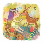 Zodiac sign - Virgo. Part of a large colorful cartoon calendar. Cute girl and fawn in flowers. Brigh