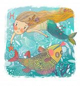 Zodiac sign - Pisces. Part of a large colorful cartoon calendar. Cute cartoon mermaid with beautiful