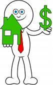 Cartoon Man Holding House And Dollar