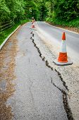 Road Works On Cracked Tarmac From Subsidence