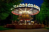 MOSCOW - MAY 25: Merry-go-round carousel at evening in Gorky Park on May 25, 2013 in Moscow. Gorky P