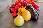 stock photo of pamelo  - A selection of vegetables and fruit  - JPG