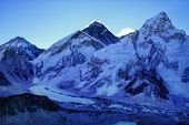 Mount Everest (8848m) and Nuptse Mountain (7861m) just before sunrise.  As seen from Kala Patthar summit, Himalayas, Nepal