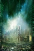 Composition of futuristic city with huge factory covered in dark clouds and smog pollution and matrix effect