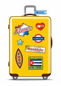 Koffer für Reisen mit Aufkleber