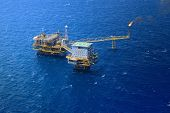 picture of offshore  - the Top view offshore oil rig platform - JPG