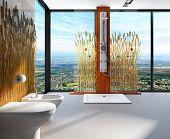 Awesome Natur Interieur Stil Badezimmer mit Duschkabine und Toilette. Zimmer ist eingerichtet mit Schilf