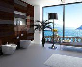 Hochmoderne Badezimmer Interieur mit luxuriösen Möbeln und schönen Seeblick