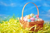 stock photo of kiddy  - Many kiddie colorful egg candies on net - JPG