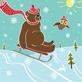 Brown Bear Sledding In Nature.Vector humorous Illustration