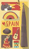 picture of gaudi barcelona  - vector illustration set of famous cultural symbols of spain on a poster or postcard - JPG