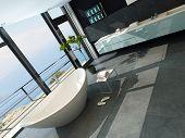 Hochmoderne zeitgenössisches Design Badezimmer Interieur mit seelandschaft anzeigen