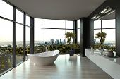 stock photo of tub  - Modern white luxury bathroom interior - JPG