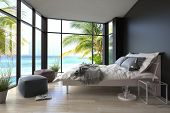 picture of stool  - Tropical bedroom interior with double bed and seascape view - JPG
