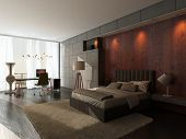 stock photo of king  - Modern design bedroom interior with king - JPG