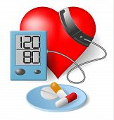 picture of sphygmomanometer  - Heart and blood pressure monitor and pills on a white background - JPG
