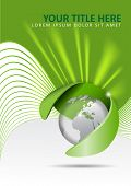 Vector abstract green background with a globe and rays of light in the background. Can be used for b