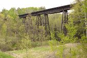 pic of trestle bridge  - A railroad bridge crossing a wooded ravine - JPG