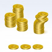 Libra esterlina oro monedas Stacks Vector Icons