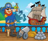stock photo of cannon  - Pirate ship deck topic 1  - JPG