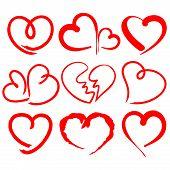 hearts set cartoon vector  illustration