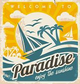 Welcome to tropical paradise vintage poster design