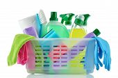 Постер, плакат: Cleaning Products And Supplies In A Basket
