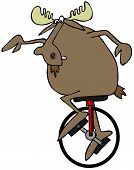 picture of bull riding  - This illustration depicts a bull moose riding a unicycle - JPG