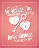 Valentine`s day massive sale typographic design with key and hearts.