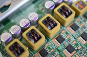 picture of capacitor  - Microelectronic circuit board with chips - JPG