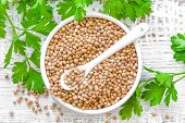 image of chinese parsley  - Coriander seeds in a bowl and fresh leaves - JPG