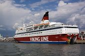 Helsinki, Finland-june 26: The Ferry Viking Line Is Moored At The Mooring In The City Of Helsinki
