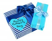 Happy Fathers Day tag with gift boxes, isolated on white