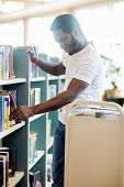Young male librarian arranging books in library